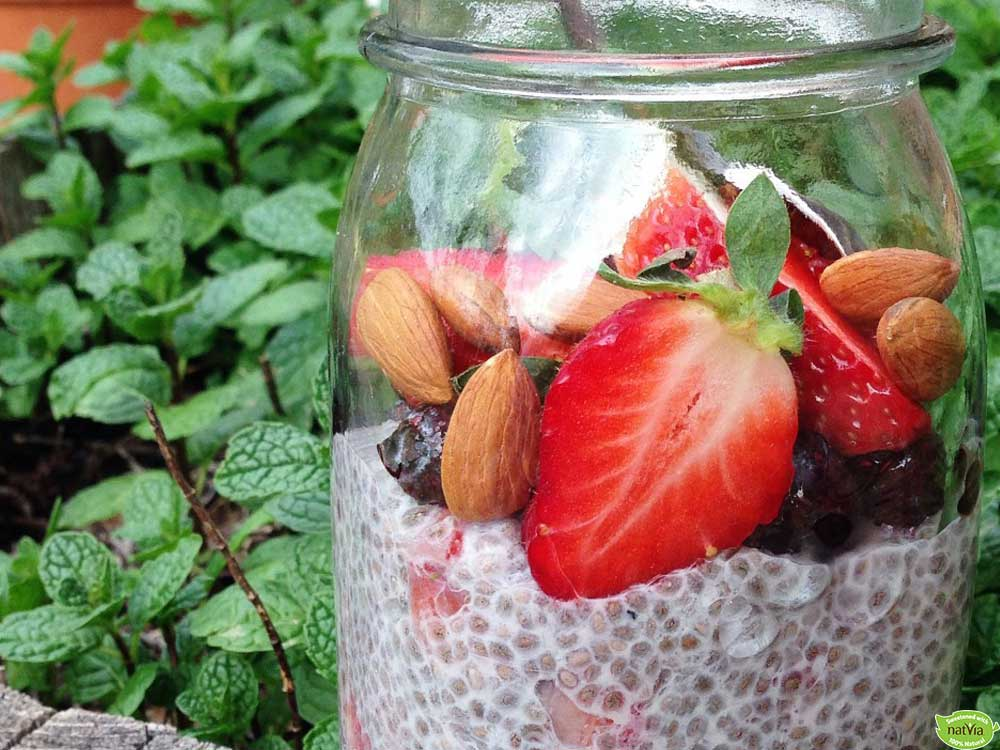 STRAWBERRIES AND CREAM CHIA PUDDING