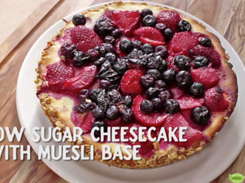 VIDEO: LOW SUGAR CHEESECAKE WITH MUESLI BASE