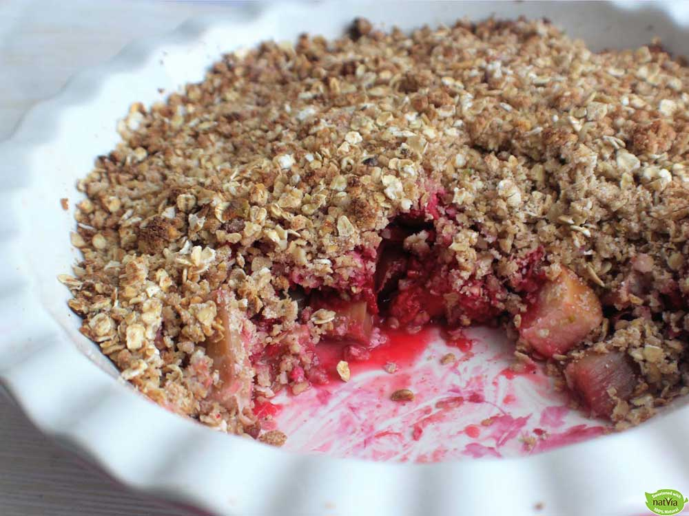 RHUBARB, RASPBERRY & APPLE CRUMBLE