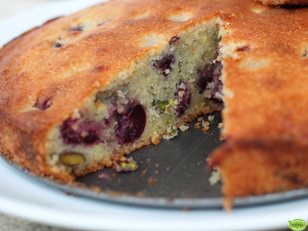 Cherry-and-pistachio-cake