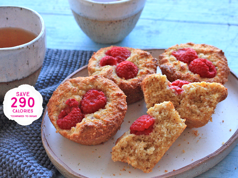 Raspberry, Almond, Coconut Muffins