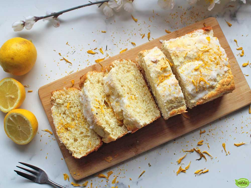 lemon drizzle loaf cake made with natvia sweetener